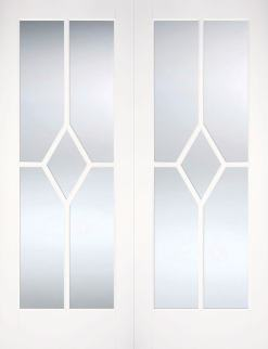 LPD Internal Reims Bevelled Glazed Prime Plus Door Pair
