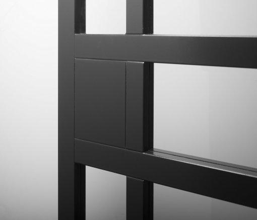 Weekamp Doors Internal Industrial Style Sliding 5 Panel Glazed Black Door with 50mm Stiles