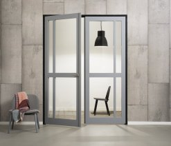 Weekamp Doors Internal Industrial Style 4 Panel Glazed Black Door with 95mm Stiles - Right Handed Version