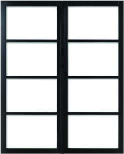 Weekamp Doors Internal Industrial Style 4 Panel Glazed Black Door with 80mm Stiles