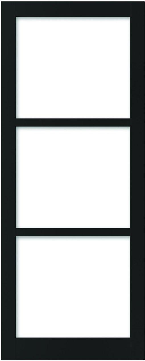 Weekamp Doors Internal Industrial Style 3 Panel Glazed Black Door with 95mm Stiles