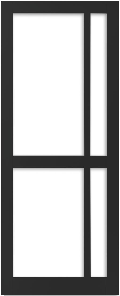 Weekamp Doors Internal Industrial Style 4 Panel Glazed Black Door with 95mm Stiles - Right Handed Version