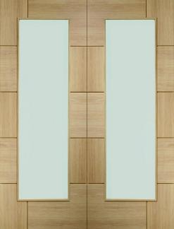 XL Joinery Internal Oak Ravenna Door Pair With Clear Glass