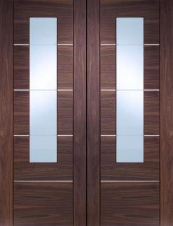 XL Joinery Internal Walnut Portici Door Pair With Clear Etched Glass