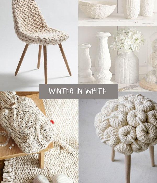 White for winter home decor : contaminazioni in lana per l'arredo invernale.