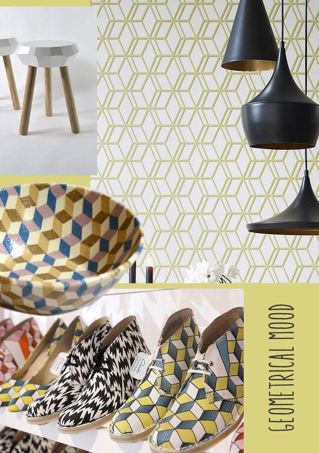 Insieme di prodotti con disegni geometrici