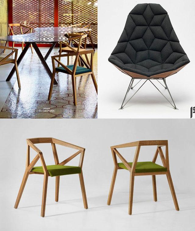 sedie dalle forme geometriche