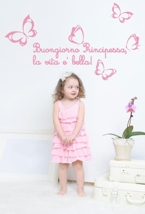 """Adesivo da muro """"buongiorno Principessa - la vita è bella"""""""
