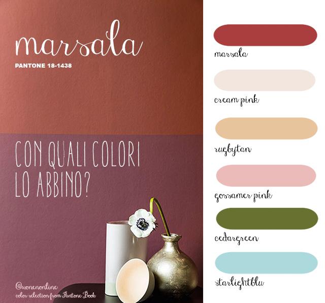 paletta colori di abbinamento al colore marsala 18-1438