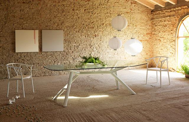 Miniforms tavolo Otto e sedia Valery bianca immagine.