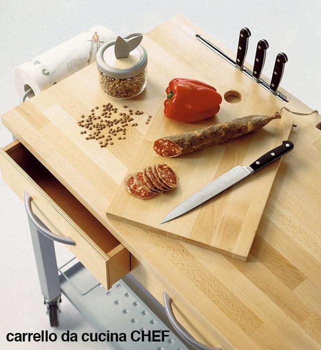 Carrello da cucina CHEF con piano in legno