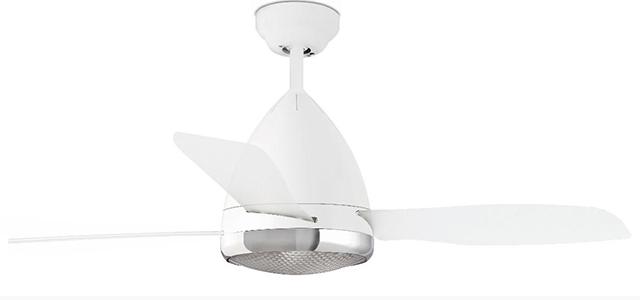 Ventilatore moderno bianco da soffitto.