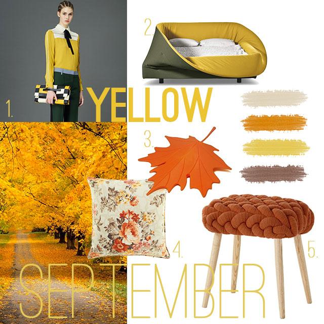 Ispirazione di Settembre: moodboard in giallo per arredare casa.