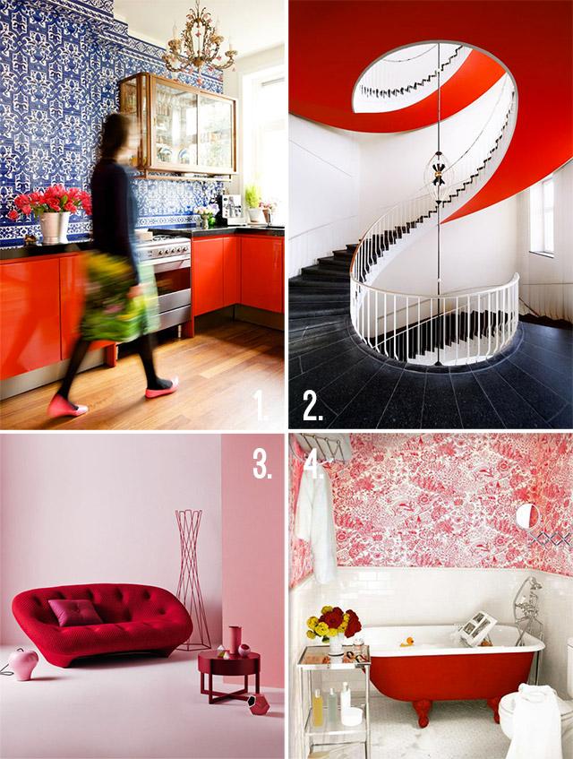 Immaigne di cucina, bagno, scala e divano con il colore rosso.
