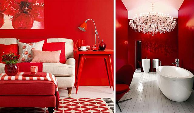 Collage immagini soggiorno e bagno rosso.