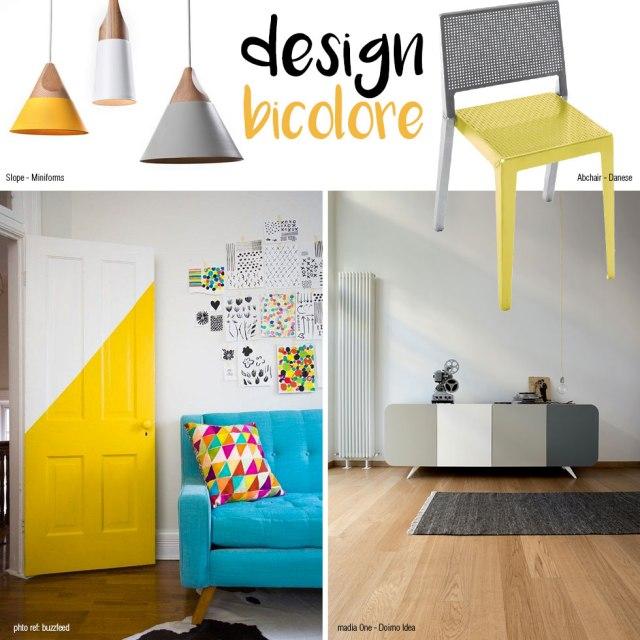 Design bicolore con giallo e grigio.