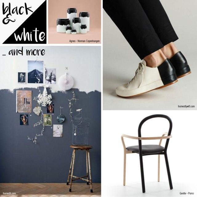 Design bicolore: black and white.