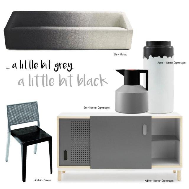 Design bicolore grigio e nero