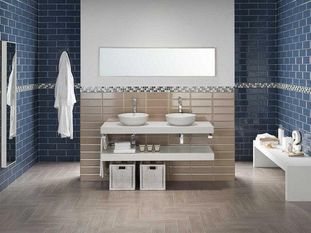 Piastrelle diamantate per il bagno: modello Edge di Iperceramica nei colori blu e beige.