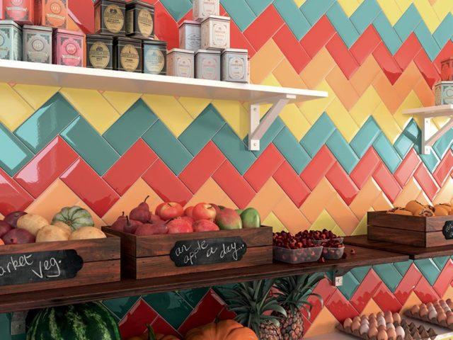 Piastrelle bisellate ceramica Vogue, esempio di composizione con diamante colorato per la cucina.
