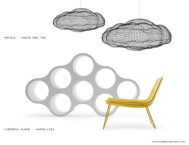 Cloud libreria di Cappellini e Decorazioni sospese in maglia di rete di Magis, collezione MeeToo.
