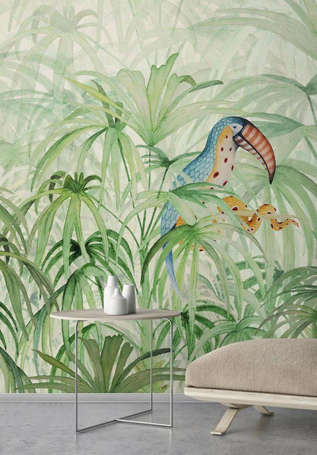 Wallpepper collezione carte da parati a tema Tropicale - Amb_Touke_Touke-Jungle