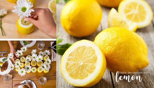 Centrotavola con limone per decorare la tavole estiva o per una cena in giardino.