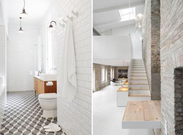 Casa total white : bagno con piastrelle diamantate.