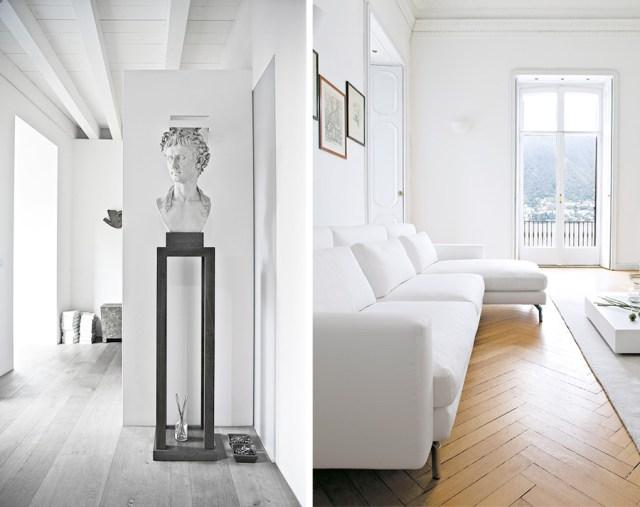 Interno classico italiano : soggiorno dai colori chiari, bianco.