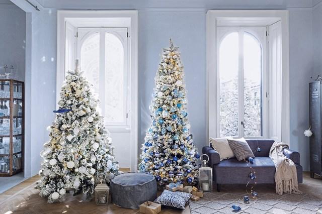 Atmosfere di Natale in casa: gli alberi di Natale di Coin casa - addobbi blu e bianco