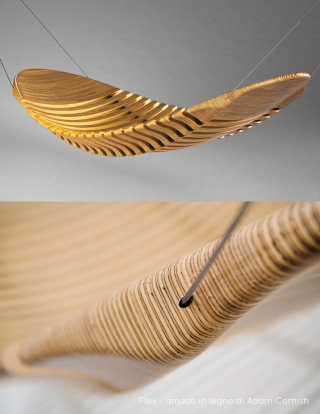 Collezione di sei amache di design per il giardino, modello in legno di Aman Cornish.