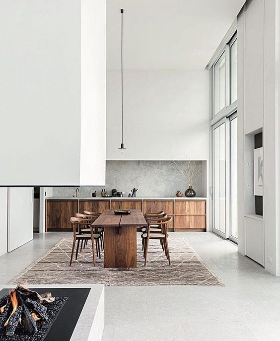 Plain interioris - living room white and wood.