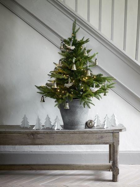 Plain interioris - christmas tree with plain decoration.