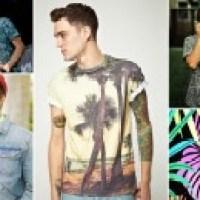 Camisa masculina estampa tropical tendência forte