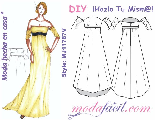 Moldes De Precioso Vestido De Fiesta Strapless Mj1187v