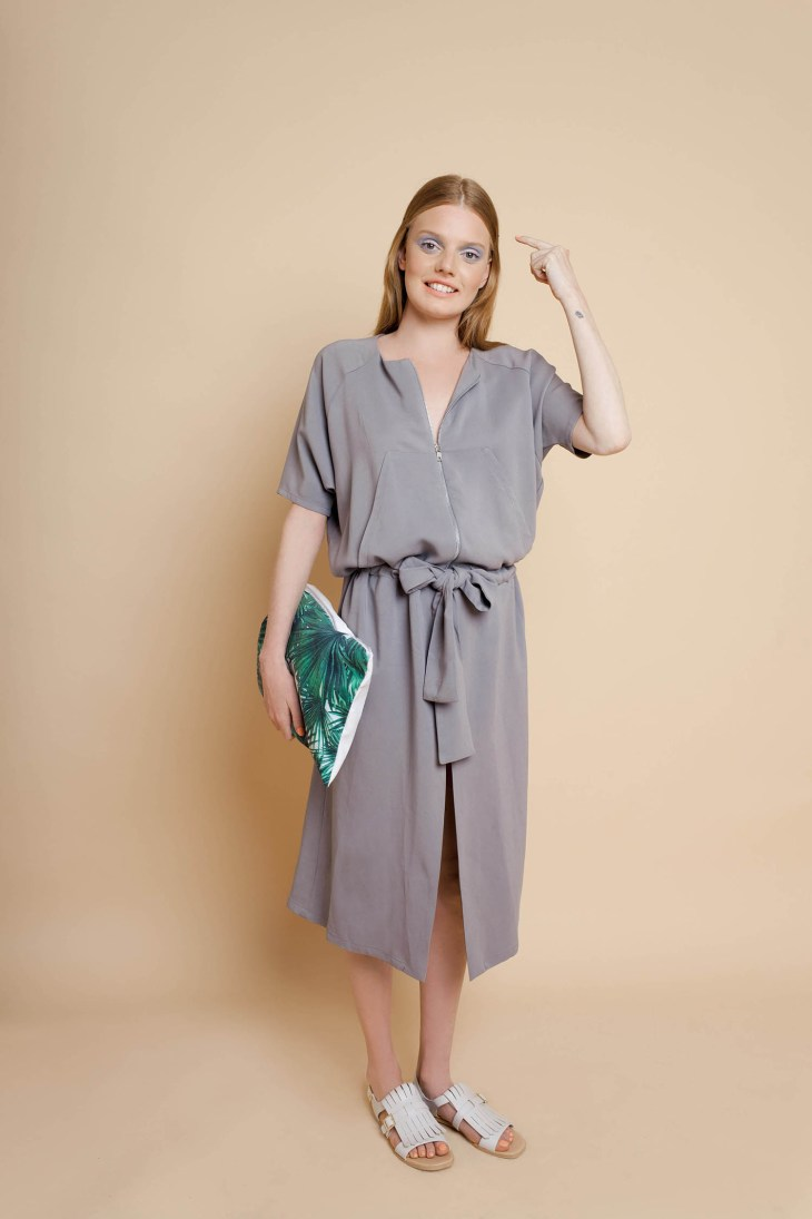 Taupe dress by Studio V at www.modagrid.com