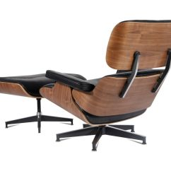 Eames Style Lounge Chair And Ottoman Rosewood Black Leather Drafting With Arms Plywood