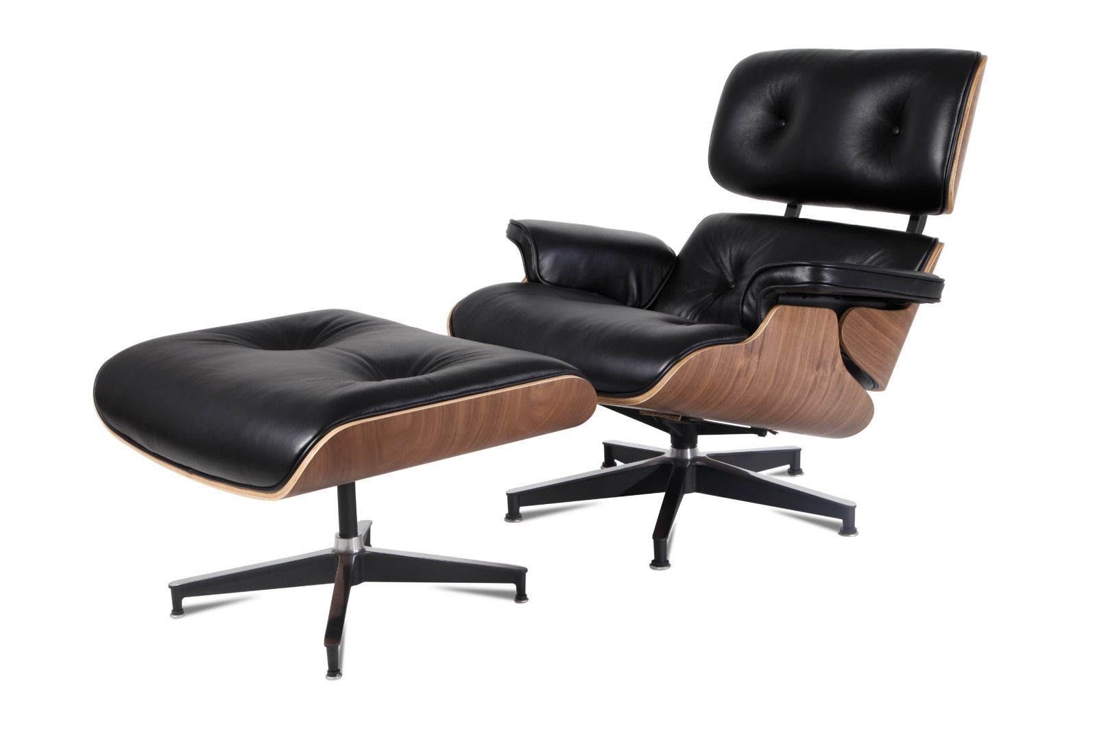 Eames Style Lounge Chair and Ottoman Palisander Plywood