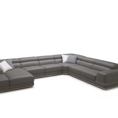 Bergamo Sectional Leather Modern Sofa Gray Bernie And Phyls Sofas Soft Stylish Elephant