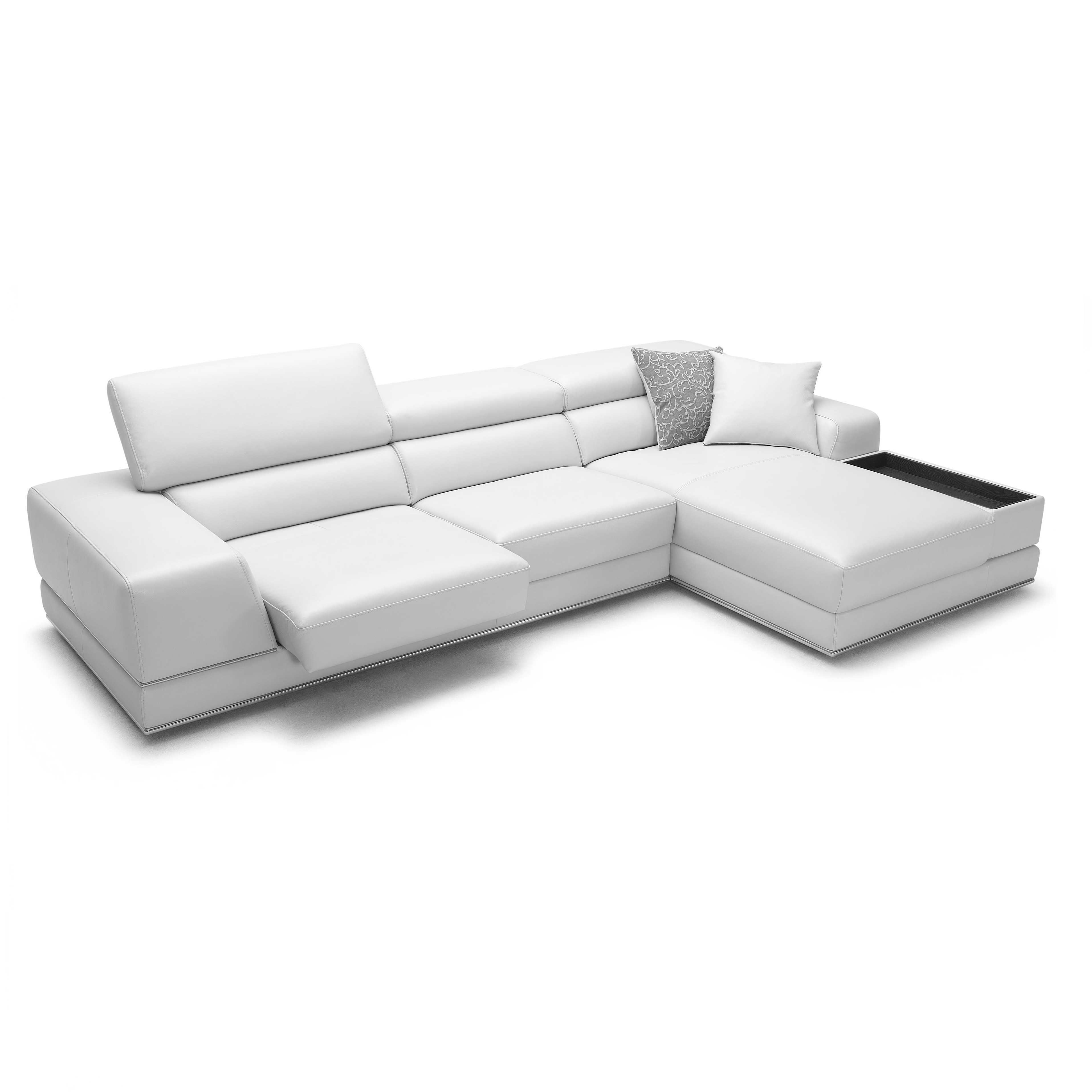 leather modern sectional sofa white brown premium reclining bergamo