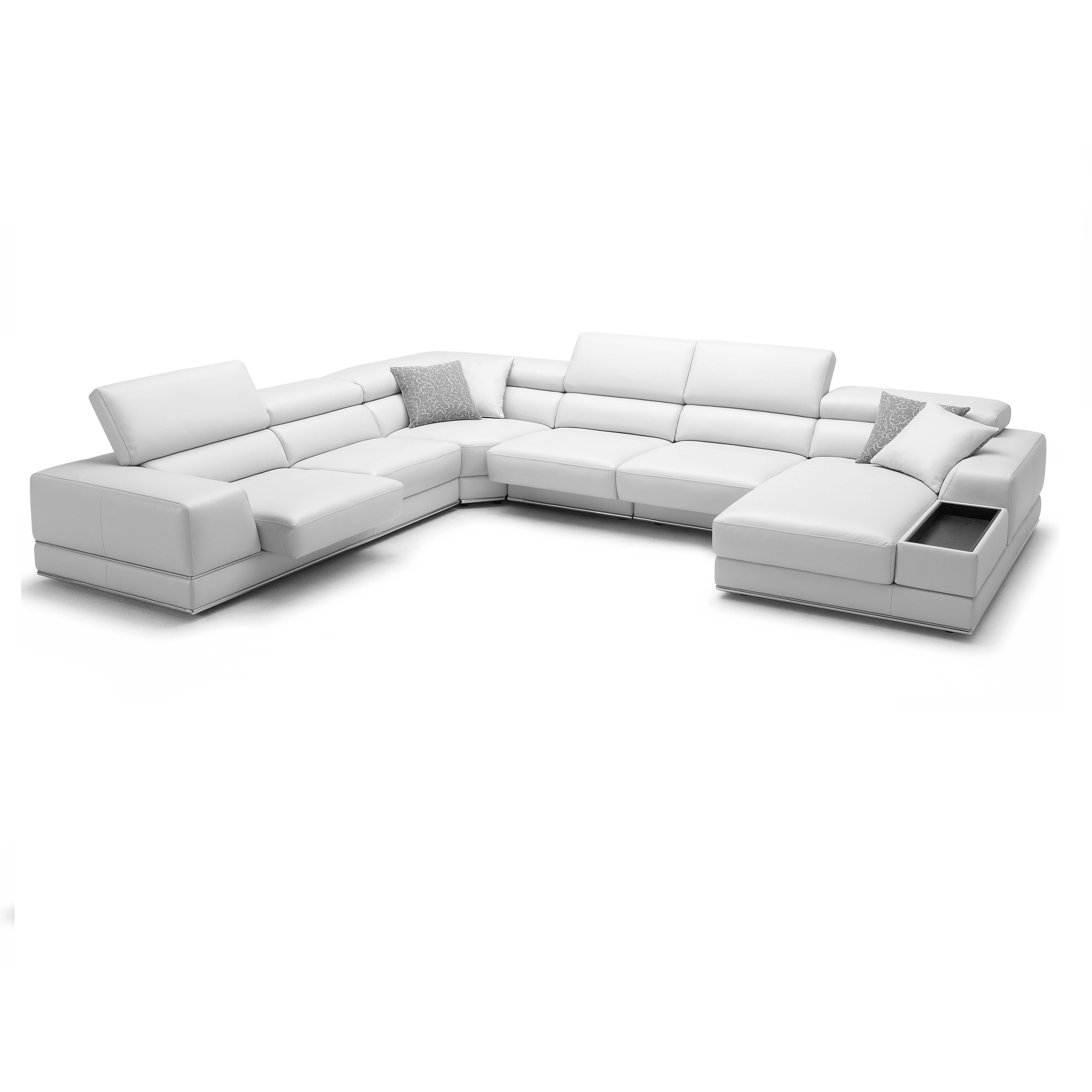 bergamo sectional leather modern sofa gray pet bed extended white
