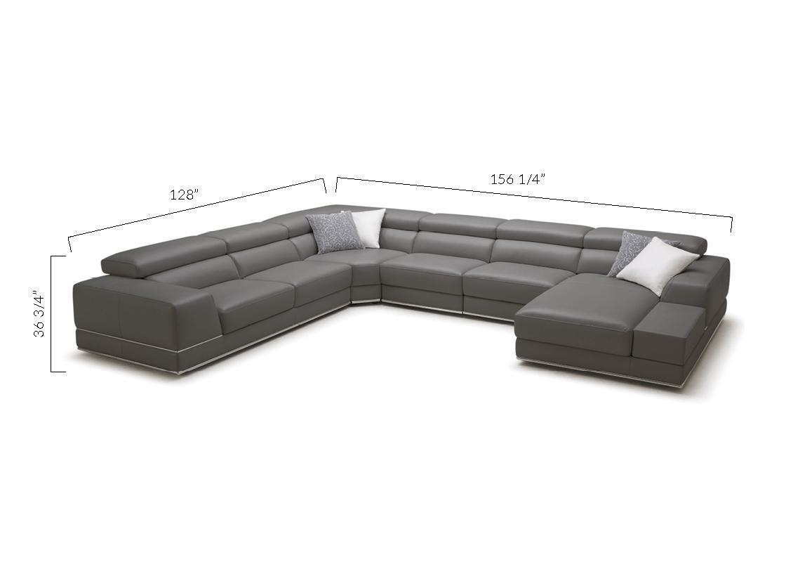 bergamo sectional leather modern sofa gray walnut set soft stylish elephant