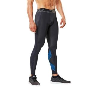2XU Accelerate Mens Compression Tights – Black/Arrow Stripe Director Blue
