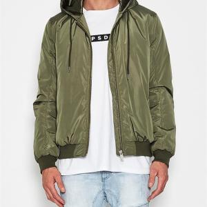 Trident Hooded Bomber Jacket Olive Green