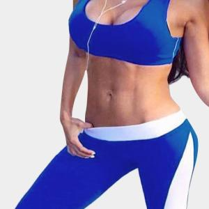 Blue And White Fashion Yoga Bodycon Tracksuit