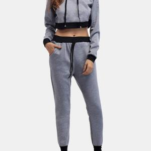 Active Cut Out Hooded Design Elastic Tracksuit in Grey
