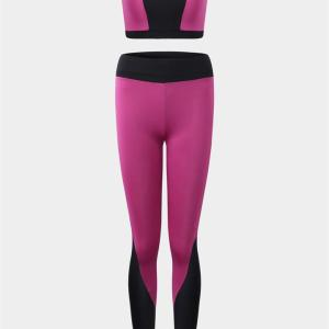 Active Contrast Color Stitching Design Tracksuit in Rose