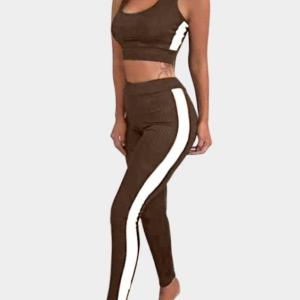 Active Contract Color Sleeveless Tracksuit in Brown