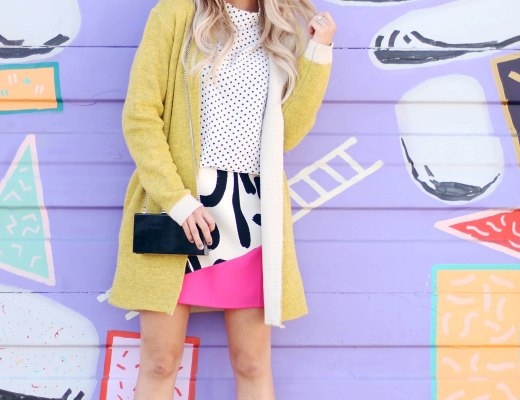 Fashion blogger Modaprints styling a yellow cardigan for fall in Denver