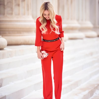 BACKLESS RED JUMPSUIT